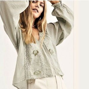 Free people Sivan embroidered floral peasant top
